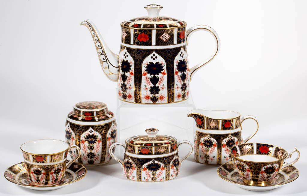 English Royal Crown Derby Old Imari Porcelain Six Piece Tea Set Jeffrey S Evans Associates