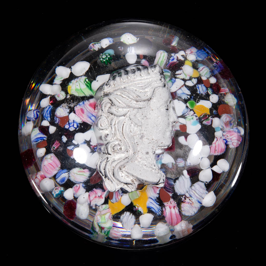 ANTIQUE AMERICAN SULPHIDE AND SCATTERED MILLEFIORI PAPERWEIGHT