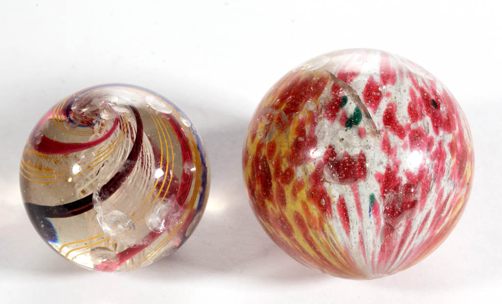 ASSORTED BLOWN GLASS MARBLES, LOT OF TWO