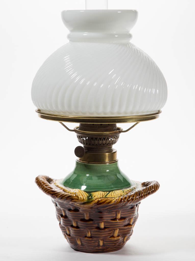 Ceramic Majolica Figural Kerosene Lamp Jeffrey S Evans Associates