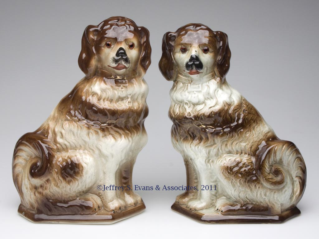 SCOTTISH POTTERY PAIR OF SEATED DOGS