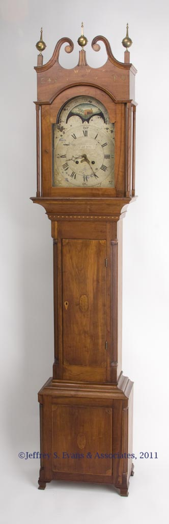 "RARE SIGNED ""CALEB DAVIS"", WOODSTOCK, SHENANDOAH VALLEY OF VIRGINIA INLAID CHERRY TALL CASE CLOCK"