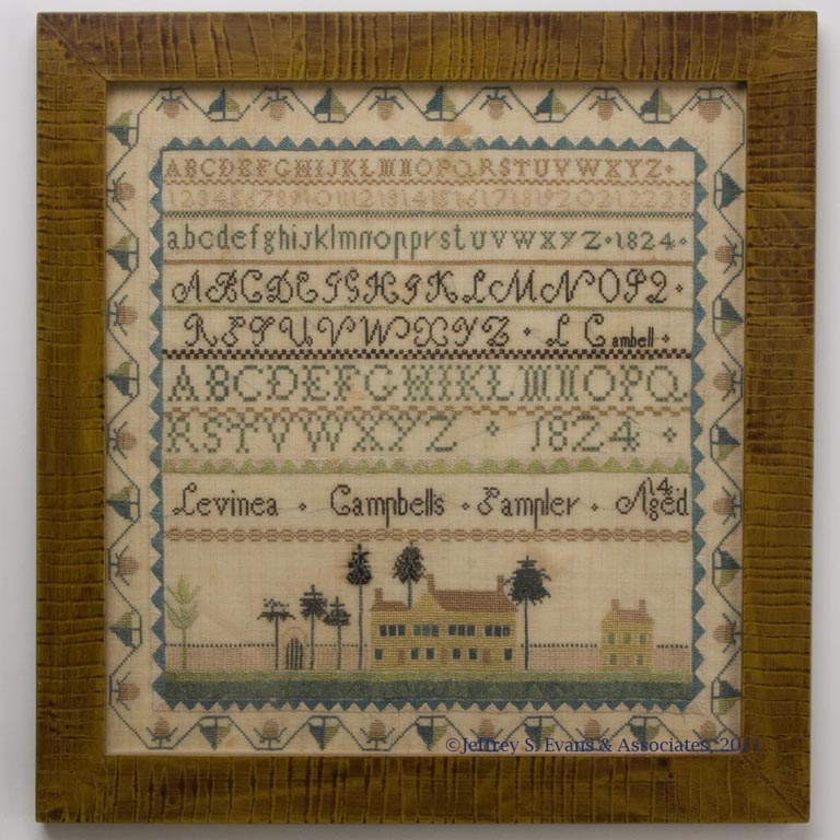 OUTSTANDING LEVINEA CAMPBELL, 1824 SHENANDOAH VALLEY OF VIRGINIA NEEDLEWORK PICTORIAL SAMPLER