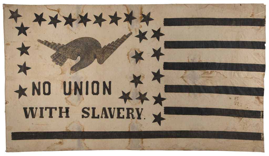 RARE AND HISTORICALLY IMPORTANT AMERICAN ANTI SLAVERY FLAG BANNER