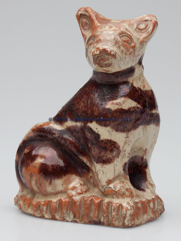 EXCEPTIONAL STRASBURG, SHENANDOAH VALLEY OF VIRGINIA MOLDED AND DECORATED EARTHENWARE / REDWARE CAT FIGURE