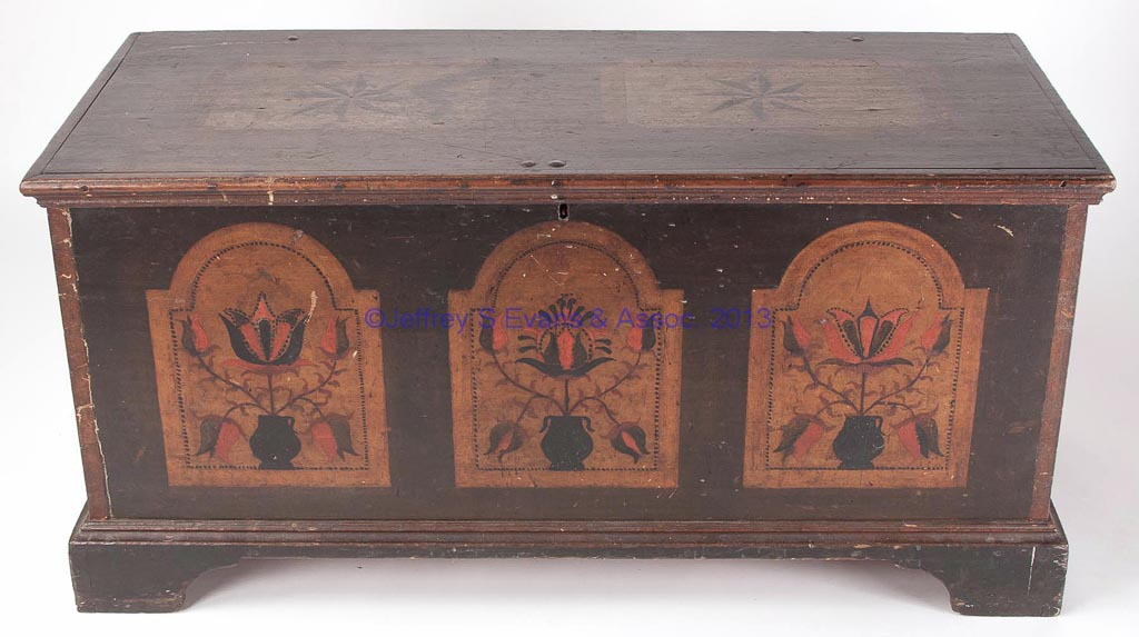 IMPORTANT WYTHE CO., VALLEY OF VIRGINIA PAINT DECORATED POPLAR BLANKET CHEST
