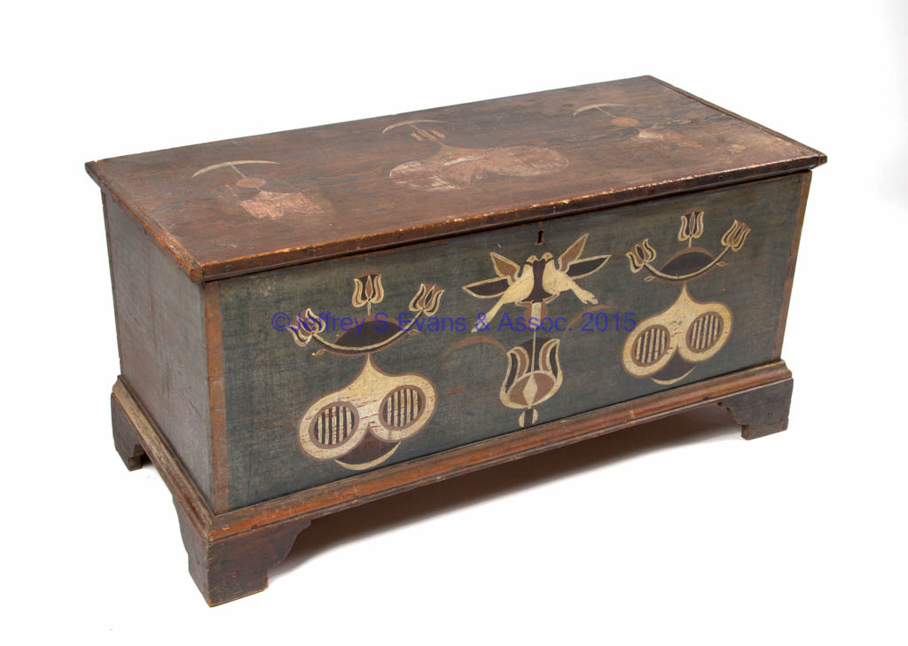 EXTREMELY IMPORTANT SHENANDOAH (NOW PAGE) CO., SHENANDOAH VALLEY OF VIRGINIA, JOHANNES SPITLER PAINT DECORATED YELLOW PINE BLANKET CHEST