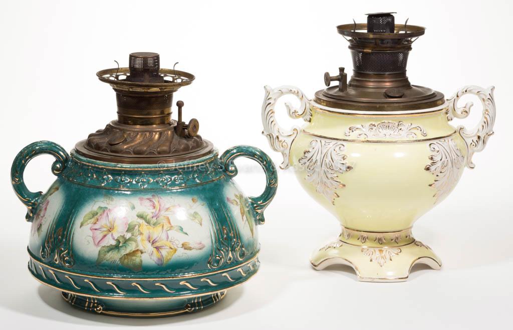 Victorian Ceramic Kerosene Lamps Lot Of Two Jeffrey S Evans Associates
