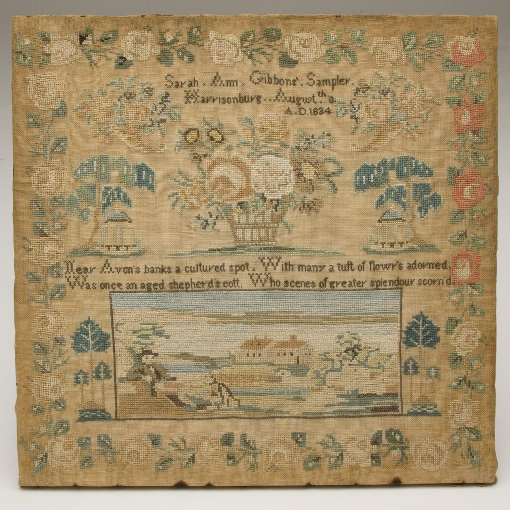 EXTREMELY RARE AND IMPORTANT SARAH ANN GIBBONS, HARRISONBURG, SHENANDOAH VALLEY OF VIRGINIA 1834 PICTORIAL NEEDLEWORK SAMPLER