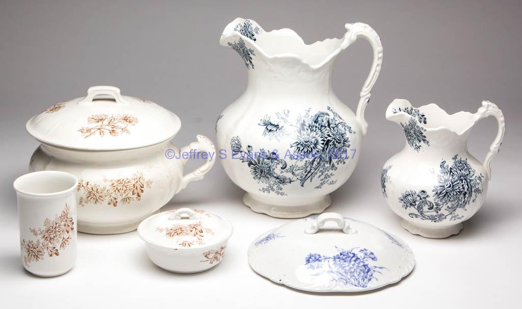 Buffalo Pottery Chrysanthemum Ceramic Wash Set Lot Of Five Jeffrey S Evans Associates