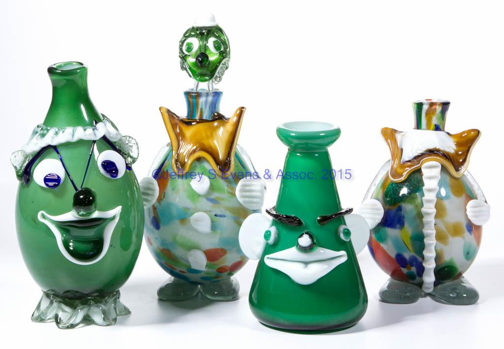 ASSORTED MURANO ART GLASS CLOWN ARTICLES, LOT OF EIGHT