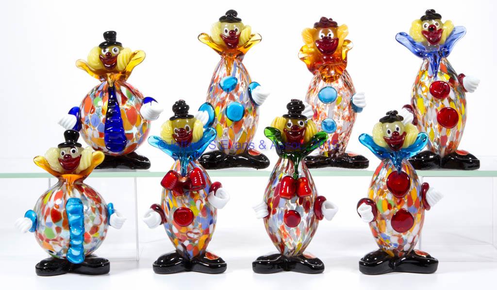 ASSORTED MURANO ART GLASS CLOWNS, LOT OF EIGHT