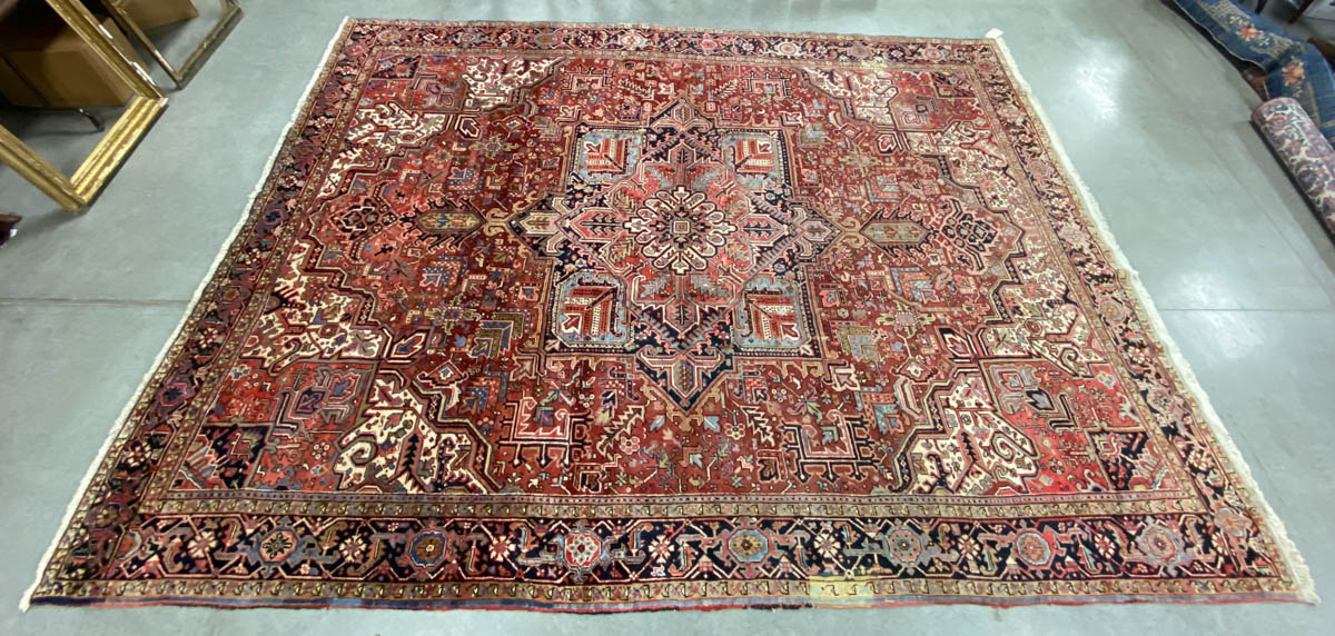 ANTIQUE PERSIAN HERIZ ROOM SIZE ORIENTAL RUG / CARPET