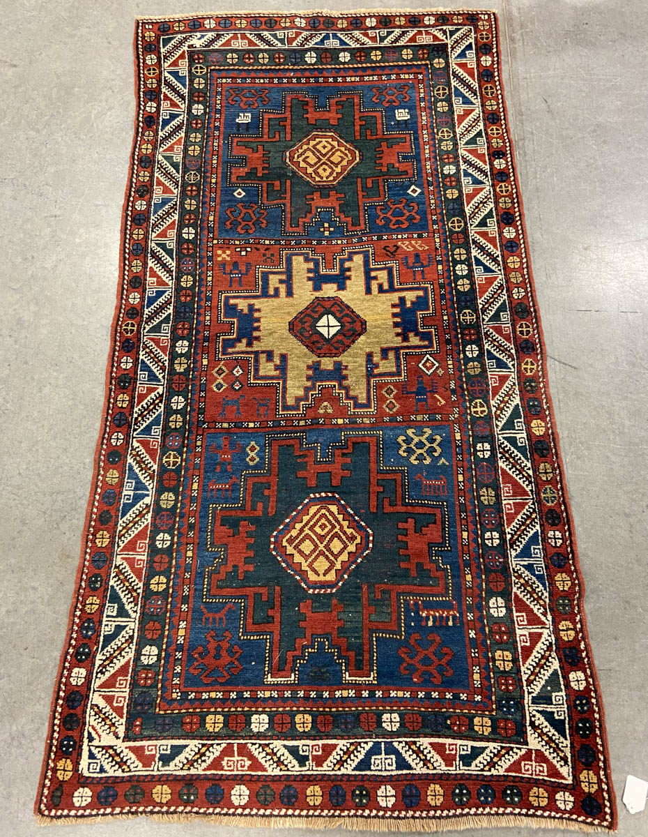 ANTIQUE CAUCASIAN LESGHI TRIBAL SCATTER RUG